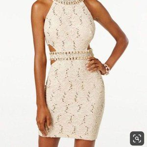B. Darlin Sequined Lace Cutout Bodycon Dress